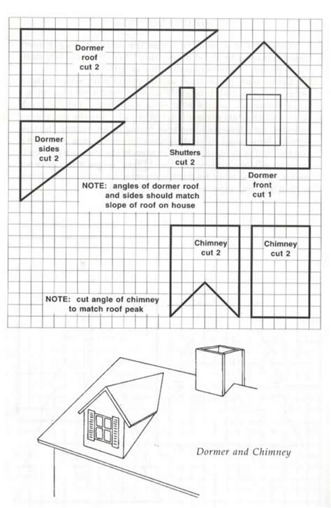 gingerbread house chimney template printable blueprint template for making a dormer and chimney to add