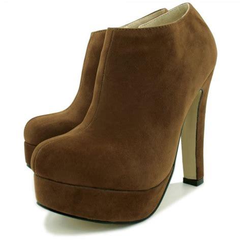 womens brown suede style stiletto heel platform ankle