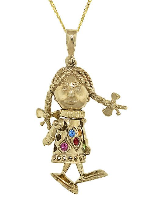 rag doll jewellery 9ct gold rag doll pendant look again