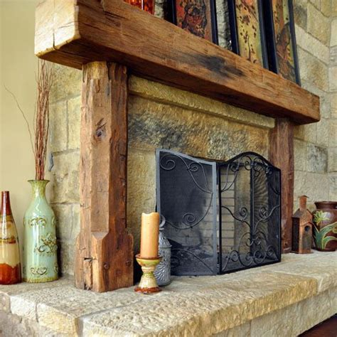 fireplace with railroad ties and vertical pillars to