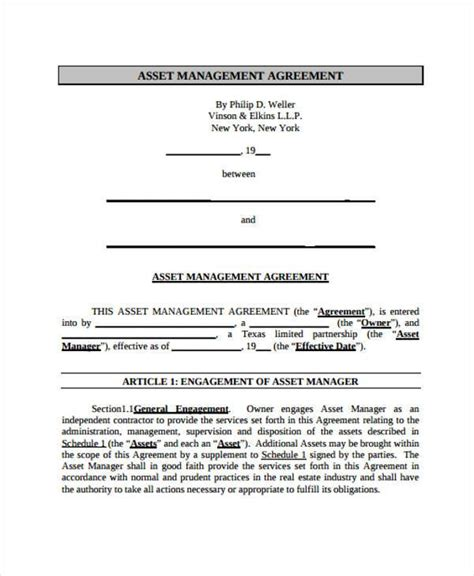 7 Asset Agreement Form Sles Free Sle Exle Format Download Asset Agreement Template