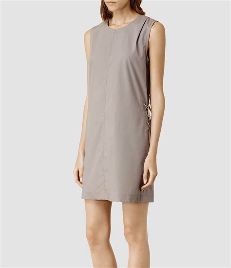 Vesta Dress lyst allsaints vesta dress in gray