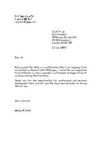 Letter Of Resignation Uk by Resignation Letter Template Uk