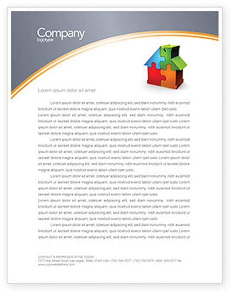 free construction company letterhead templates real estate finance puzzle letterhead template layout for