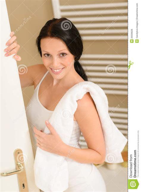women in bathroom beautiful woman in bathroom with towel royalty free stock image image 26339026