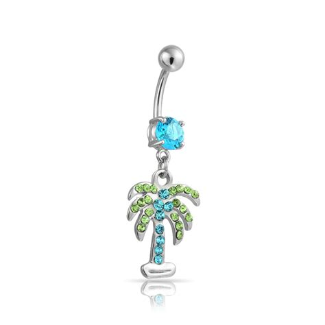 bling jewelry simulated aquamarine cz palm tree belly ring