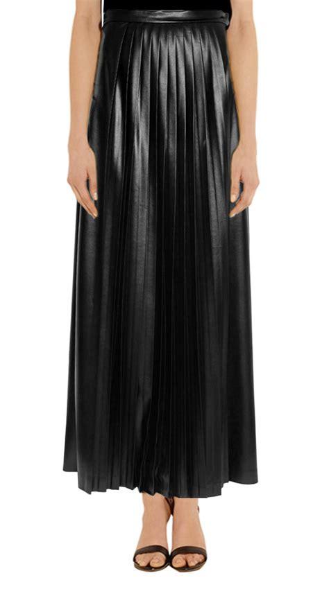 shop length pleated maxi leather skirt