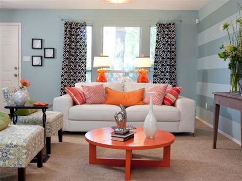Blue Living Room Orange Accents Photo Page Hgtv