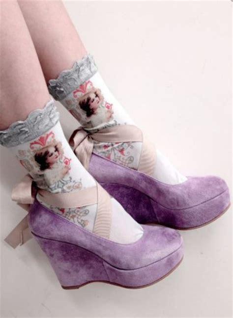 Wedges Pastel Series socks fugly strange lilac wedges socks and sandals