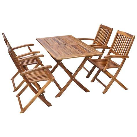 vidaXL.co.uk   vidaXL Five Piece Outdoor Dining Set Acacia