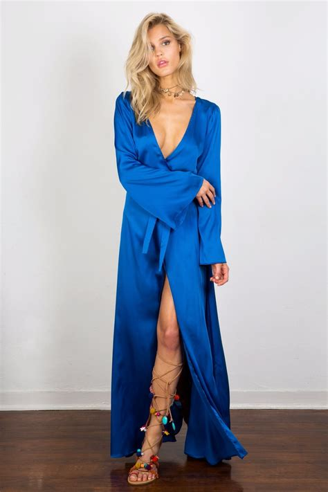 Alillah Blue blue wrap maxi dress soah