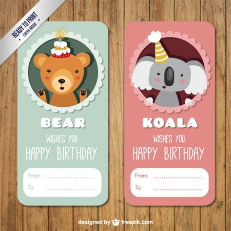koala birthday card template and koala birthday labels pack vector premium