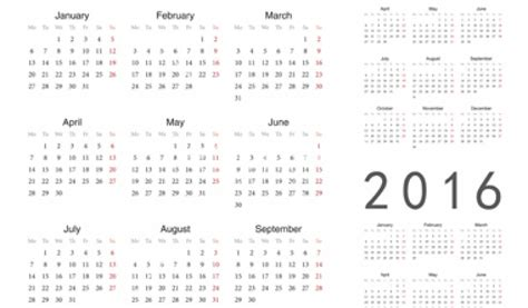 yearly calendar at a glance 2016 printable yearly