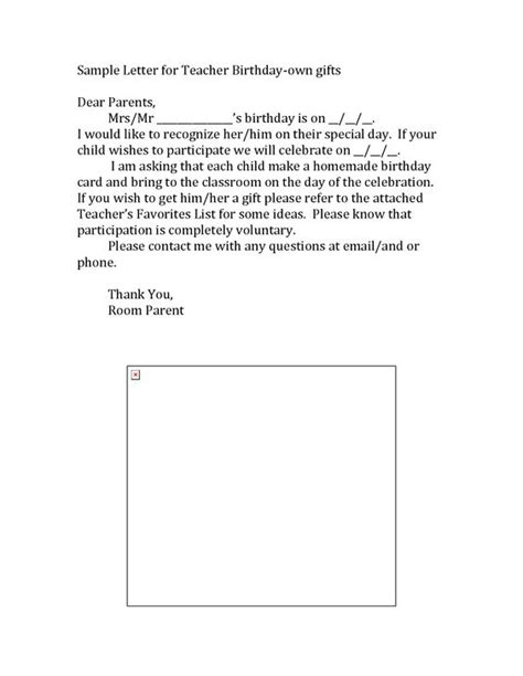 Parent Gift Letter Templates Letters Parents Sle Letter For Birthday Collecting For A Gift