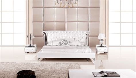 White Leather Bedroom Set | 3 piece modern wing genuine white leather bedroom set