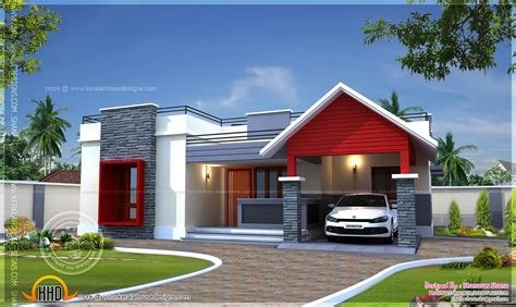 single floor home plan in 1400 square kerala home
