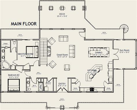 Main Floor Plans | lake cabin plans with loft joy studio design gallery