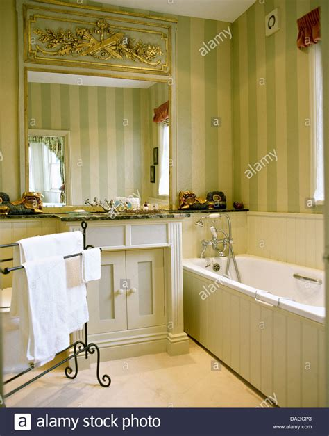 painted tongue and groove paneling best 25 tongue and large ornate mirror above basin in bathroom with striped