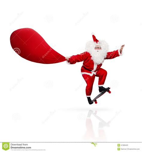 Santa Claus Skateboarding Isolated On White Stock Image Click Santa Claus Skateboard