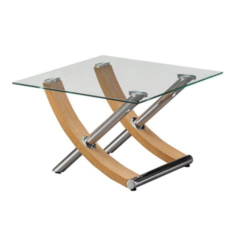table gemini gemini l table in clear glass top with oak and chrome