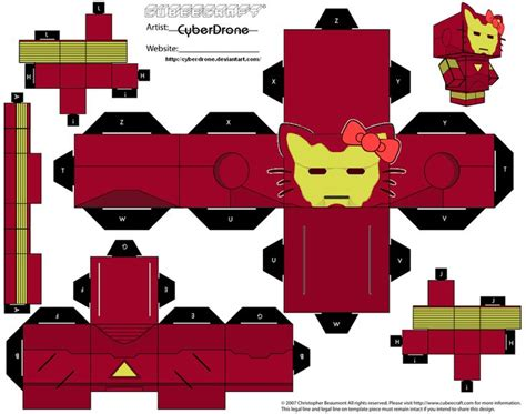 Hello Papercraft Template - cubee hello iron by cyberdrone deviantart on