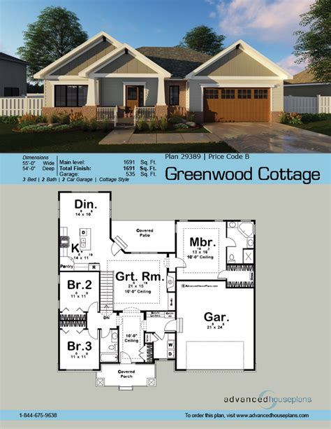 cottage style ranch house plan by advanced house plans