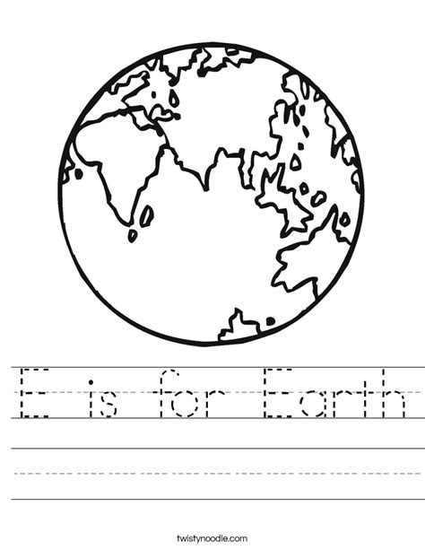 Worksheet On Earth by E Is For Earth Worksheet Twisty Noodle