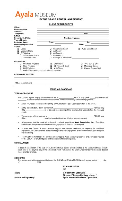 event rental agreement template 8 best images of event security guard contract agreement
