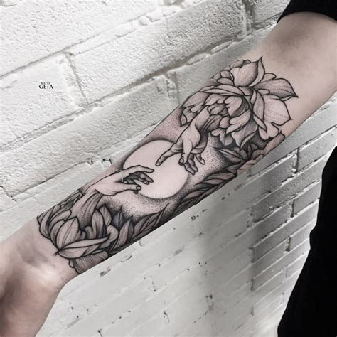 creation of adam tattoo creation of adam flower arm for