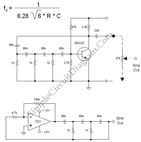 transistor lifier phase shift basic phase shift oscillator 1khz simple circuit diagram