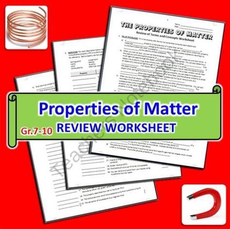 properties of matter review worksheet the properties of matter review worksheet from tangstar science on teachersnotebook 6
