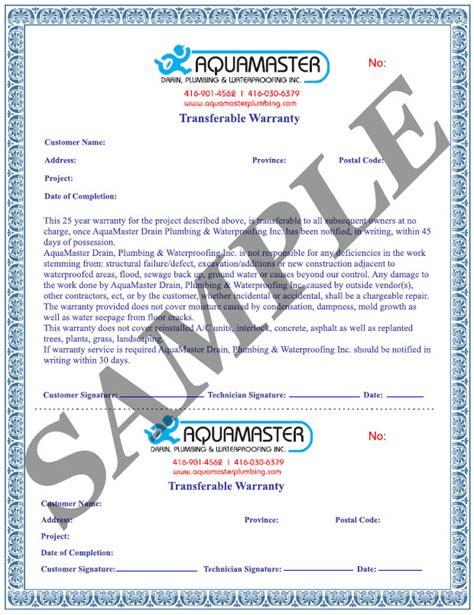 Guarantee Letter Format For Waterproofing Work fully transferable 25 year waterproofing warranty