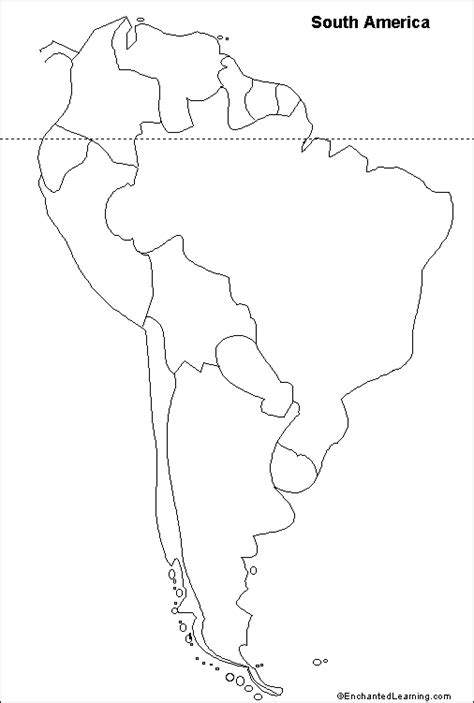 South And America Map Outline outline map south america enchantedlearning