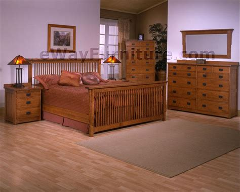 Unfinished Oak Bedroom Furniture Solid Oak Mission Spindle Bedroom Set
