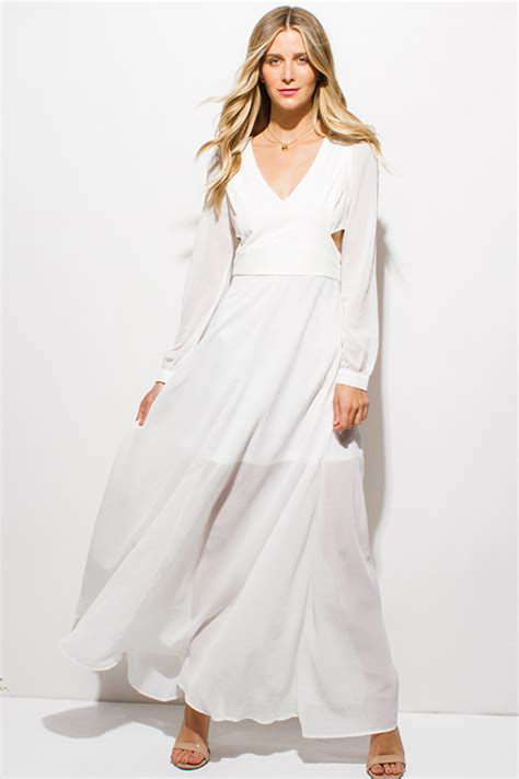 white v neck cutout back chiffon maxi dress casual dresseswomen shop ivory white chiffon blouson long sleeve v neck cut