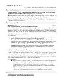 Fashion Product Manager Sle Resume by Exle Apparel Production Manager Resume Free Sle
