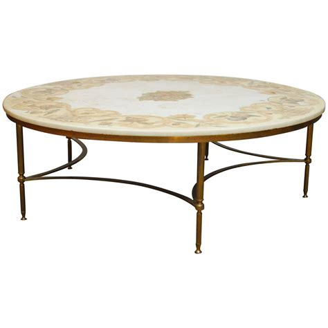 Brass And Marble Coffee Table Florentine Marble And Brass Cocktail Coffee Table At 1stdibs