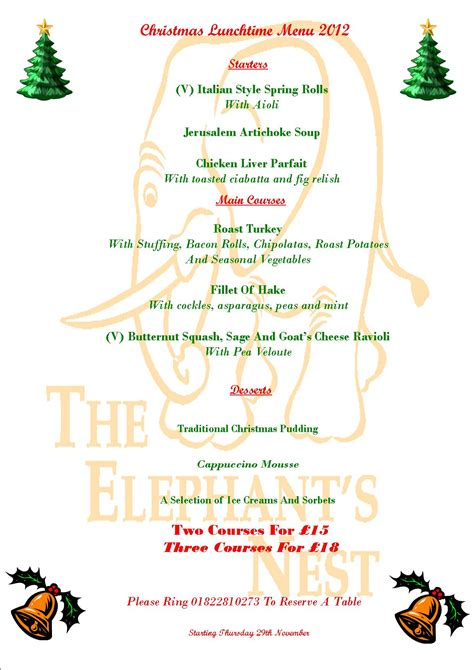 best new christmas menus lunchtime menu the elephants nest inn a traditional country pub with b b