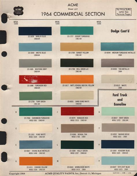 paint chips 1964 ford mustang