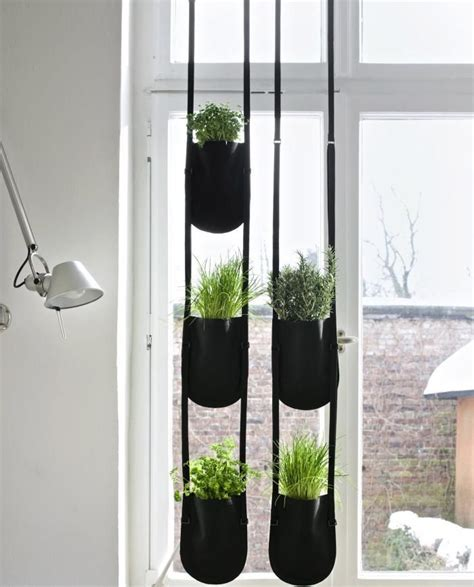 hanging herbs made of black coated polyester fabric the urban garden
