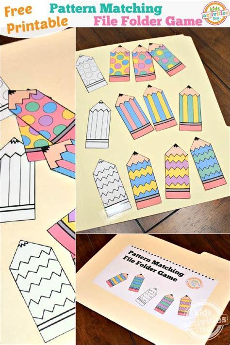 pattern matching kindergarten pattern matching free printable file folder game for