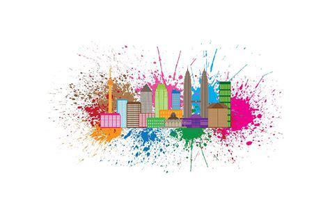 acrylic paint kuala lumpur kuala lumpur city skyline paint splatter illustration