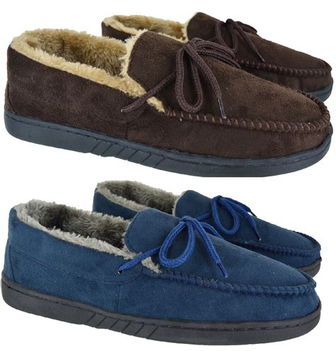 mens moccasin slippers uk mens gents real leather suede moccasin winter flat black