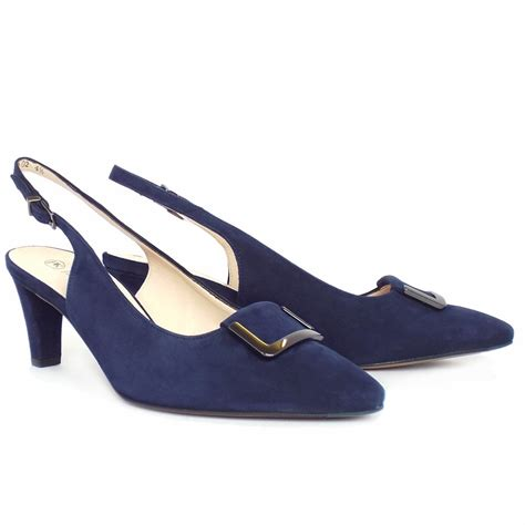 back shoes kaiser merlina mid heel sling back shoes navy