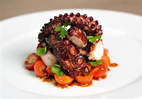 grilled octopus recipe with cherry tomatoes and vinaigrette