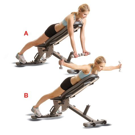 incline bench back exercises incline reverse dumbbell fly women s health