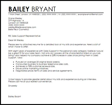Great Sales Resume Examples by Sales Support Cover Letter Sample Livecareer