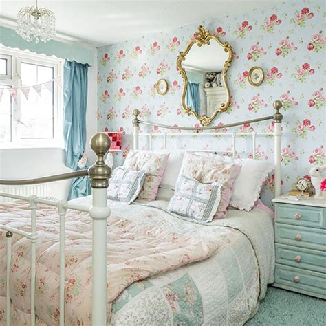Shabby Chic Purple Bedroom - country bedroom with blue floral wallpaper bedroom decorating housetohome co uk