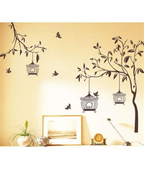 Where Can I Buy Wall Stickers stickerskart flowers amp trees pvc brown wall stickers buy