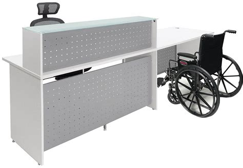 Accessible Reception Desk White Glass Top Wheelchair Accessible Reception Desk